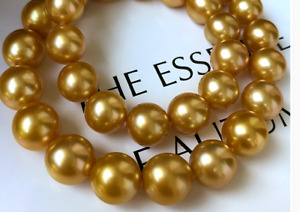 """HUGE 18""""11-12MM NATURAL SOUTH SEA GENUINE GOLD ROUND PEARL NECKLACE 14K 888AAA"""
