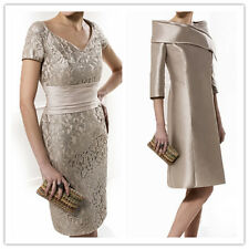 Champagne Mother Of the Bride/Groom Outfits Lace Wedding Guest Dresses Free Coat