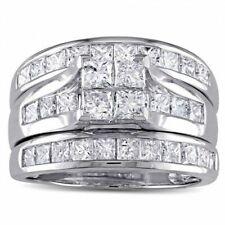 Invisible Set Princess Cut Diamond Engagement Wedding Bridal Ring Set 925 Silver