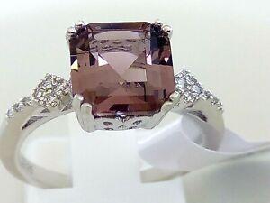 MORGANITE CR DIAMONDS 925 STERLING SILVER RING SIZE US 6  L 1/2,  US7  N 1/2