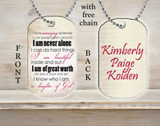 Personalized Custom Necklace Dog Tag Daughter of God Hope Strength Faith