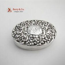 Sterling Silver Oval Box Repousse Floral