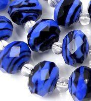 14 Czech glass Faceted Rondelle Beads - Sapphire black Swirl 12x8mm