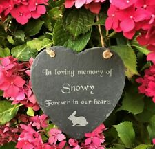 Personalised Slate Heart Pet Memorial Grave Marker Hanging Plaque Rabbit