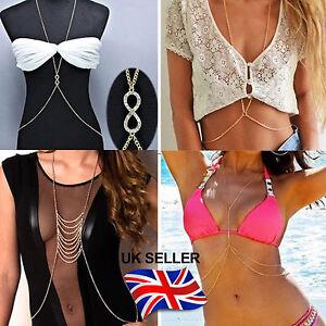 UK Fashion Body Chain Bikini Waist Belly Sexy Beach Harness Jewellery Necklaces