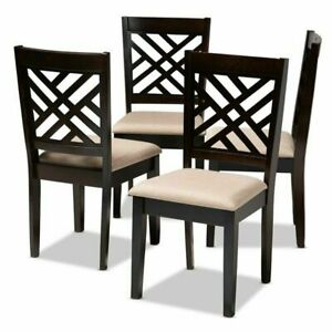 Baxton Studio Caron Fabric and Wood Dining Chairs in Sand and Brown Set of 4