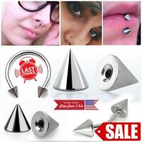 16G-14G 3-5mm Silver Steel Metallic Cone Internally Threaded Replacement Sets