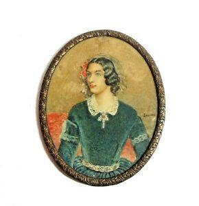 Antique Framed Cameo Portrait Georgian Era Hand Painted on Vellum Signed  c.1800