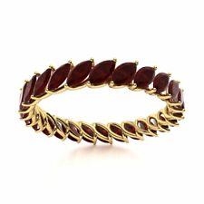 Genuine Marquise Cut AAA Red Garnet Full Eternity Wedding Ring 14k Yellow Gold