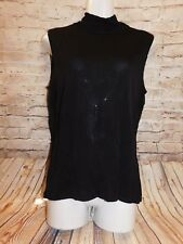 Bloomingdale's Womens Knit Top Size L Casual Solid Black Sleeveless Rayon Blouse