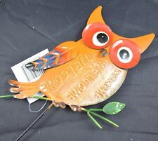 """New listing 21"""" Welcome Red Owl 2D Flower Garden Yard Flower Pot Stake Tin Sign #32"""