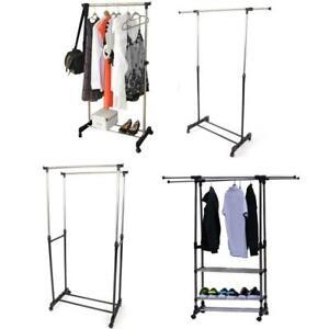 Single/Double Clothes Rail Portable Hanging Garment w/ Shoe Rack Shelf