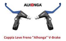 """820AZ Coppia Leve Freno """"Alhonga"""" V-Brake Blu per bici 20-24-26 Graziella"""