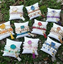 10 WHOLESALE AGATE CRYSTAL GEM DRUZY BEAD BRACELET STACK SETS JEWELRY TASSEL LOT