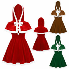 Women Christmas Dress Santa Claus Costume Outfits Hooded Cape Cosplay Xmas Party