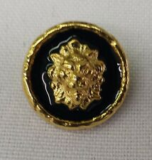 "Gold Metal Buttons with Lion Head and Colored Inlay, 3/4"": Set of 12"