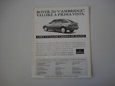 advertising Pubblicità 1992 ROVER 214 CAMBRIDGE