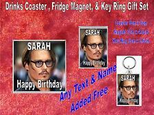 Johnny Depp  Drinks Coaster Fridge Magnet & Key Ring Gift Set