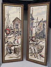 Vintage Hand Painted  Watercolor Fishermen Dwarf  Nautical Sea Ocean Signed Lot