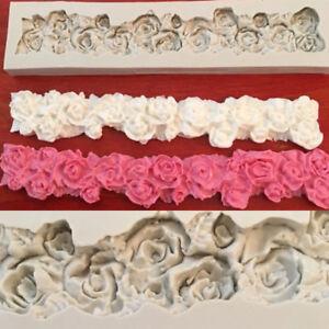 Silicone Flowers Fondant Mould Cake Rose Lace Sugarcraft Chocolate Border Mold