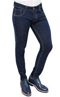 JEANS UOMO BATTISTINI BLU SCURO DENIM SARTORIALE 100% MADE IN ITALY da 44 a 56
