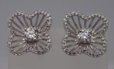 Stunning Sterling Silver Sparkly Flower Earrings-6.5 grams, UK Seller