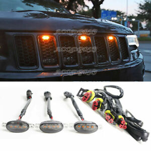 For Jeep Grand Cherokee 2011-2021 Smoked Amber LED Front Grille Running Lights