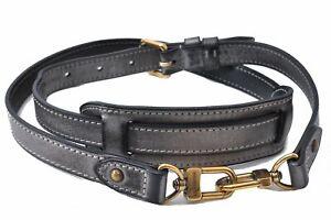 """Authentic Louis Vuitton Leather Shoulder Strap Gray Black 38.4-42.3"""" LV D1104"""