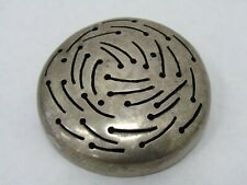 Mid-Century Artist Signed Sterling Silver Modernist Disc Brooch Pin