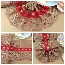 """5.5""""*1Y Embroidered Tulle Lace Trim~Hot Red+Deep Gold~Brilliant Moment~Gorgeous~"""