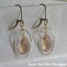 'Morganit' Quarz Brisur Ohrringe 585 Gold 14K GF & 925 Silber diamant. Ring