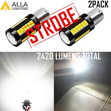 1156 Legal White STROBE Back Up Light Bulb|Brake|Center High Stop Flashing→Solid