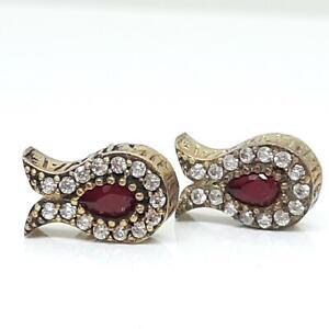 Deco .90ctw Ruby & Diamond Cut White Sapphire 14K Yellow Gold 925 Stud Earrings