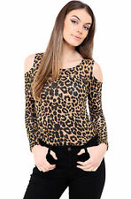 B01 New Womens Ladies Leotard Cold Cut Out Shoulder Bodysuit Top In Pluse Size
