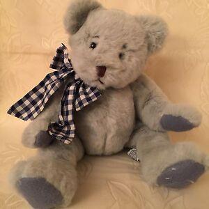 Lyndon RUSS Berrie Teddy Bear Grey w/Blue Check Ribbon Retired Rare Item 712