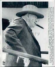 1959 Profile Image Sir Winston Churchill Smoking Cigar Wearing Hat Press Photo
