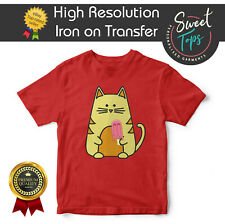 CAT WITH A LOLLY IRON ON T SHIRT TRANSFER | HIGH QUALITY