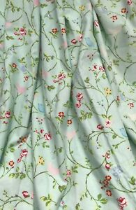 Beautiful duck egg green floral, bird, butterfly lined curtains