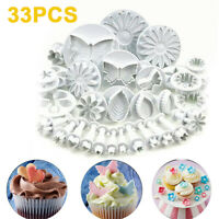 33Pcs/Set Sugarcraft Cake Decorating Fondant Plunger Cookie Cutters Tools Mold