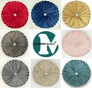 Cushion Soft PLUSH Velvet Cushions Luxury Chic Filled Scatter Cushion Round