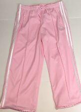 Adidas 3 Stripes Womens Pink Athletic Running 3/4 Length Crop Mesh Pants  Medium
