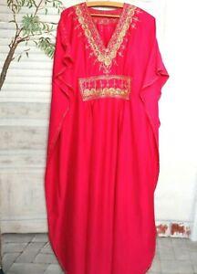 Pinkes Marokko Koffer Tunika Kleid Kaftan Pflegeleicht Pink 44 46