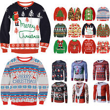 Unisex Ugly Christmas Sweater Women Men Xmas Jumper Sweatshirt Pullover Tops AU