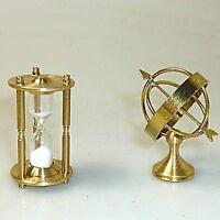 Eieruhr und Globus funktionsfähige Miniatur Setzkasten massiv Messing ca. 4cm