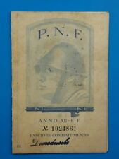 tessera fascista PNF ANNO XII - fascio di combattimento DOMODOSSOLA ferroviere