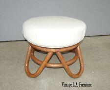 Vintage Mid Century Modern Bamboo Rattan White Swivel Stool Bench