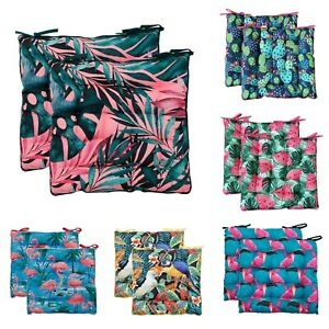 2 Pack Summer Indoor & Outdoor Water Resistant Seat Pads Chair Cushions Booster