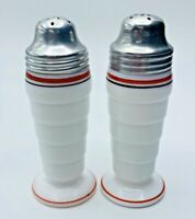 Anchor Hocking White Milk Glass Red & Black Striped Salt And Pepper Shakers