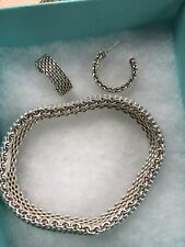 Tiffany & Co. Somerset Mesh Wide Bracelet Bangle Cuff 925 and earrings