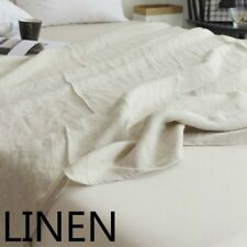 100% Pure Linen Bed Sheet Cover Bedsheet French Flax Organic Natural Plain Green